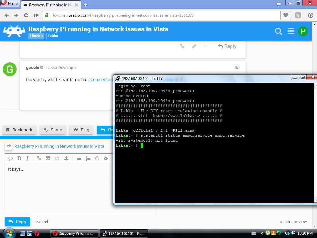 Raspberry Pi running in Network issues in Vista - Lakka