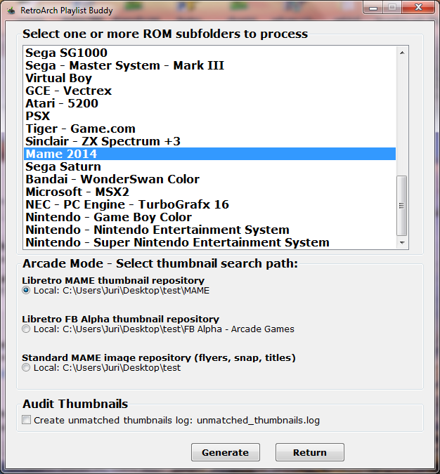 RetroArch Playlist Buddy - Playlist and thumbnail generation